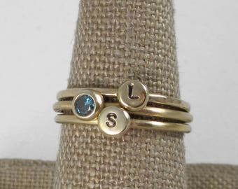 Chunky Pebble Ring * 14k Gold Handmade Initial Letter Stacking Ring * Unique-To-You Personalized Monogram