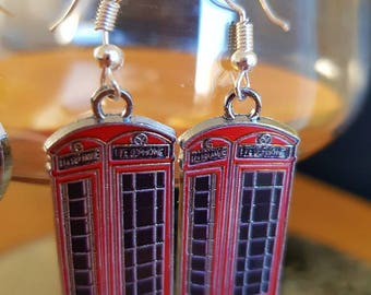 Earrings London Red Phone Box Silver Plated Hook Earrings.Fab souvenir, wear them for Royal wedding or because u love them and Harry Potter!