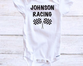 Personalized Checkered Flag Racing Onesie - Baby Onesie - Custom Favorite Driver Onesie - Racing Fans - BMX - Motocross - Sleeve Options