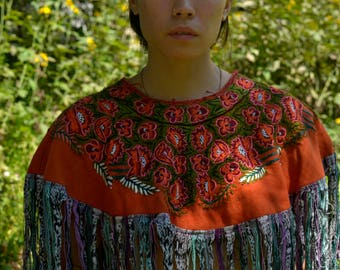 Hand Embroidered Chiapas Poncho