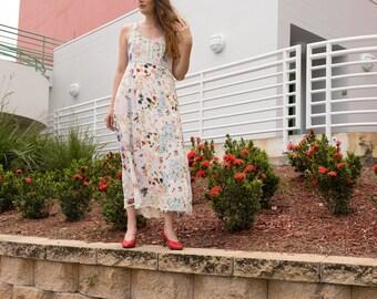 80's Lightweight Floral Patchwork Dress