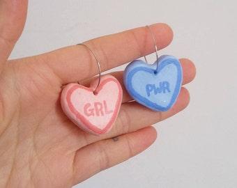 Handmade Candy Heart Girl Power Clay Earrings