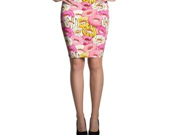 Donut Spandex Skirt Pencil or Mini Skirt Womans Skirts Printed Fashion Bottoms Crazy Unique Outfit Stretch Doughnut Printed Fabric
