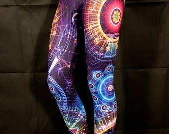 Psychedelic Clothing STARFIRE LEGGINGS Yoga Leggings Festival Clothing Pixie Leggings Hippie Clothing Sacred Geometry Yoga Pants Psytrance