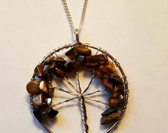 Tree Of Life Necklace Crystal Tree Of Life Necklace Tree Of Life Pendant Tigers Eye Tree Of Life Tigers Eye Crystal
