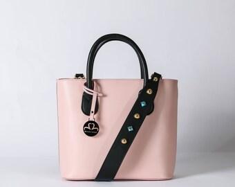 Pink leather bag, pink handbag, pink real leather handbag,made in italy, woman leather bag, leather small bag