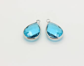 Turquoise Faceted Glass Pendant, Real Rhodium Plated Over Brass, Faceted Glass Stone Pendants, Wholesale, 22mm x 13.5mm, 2 Pcs, 12L2-12S-01C