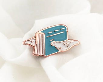 Flying Book Enamel Pin