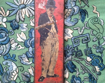 1920s tin pencil case/Charlie Chaplin/collectible/1920s storage box/1930s/makeup/paint brushes/rare
