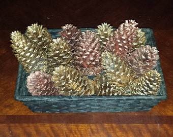Painted bronze and gold pine cone basket
