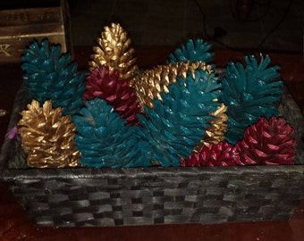 Painted pine cone basket color optional