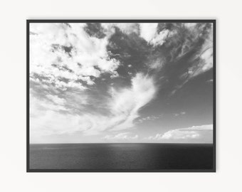 Black and White Photography, Lake Michigan, Landscape Photography, Lake Photography, Water Photography, Waterscape, Clouds, INSTANT DOWNLOAD