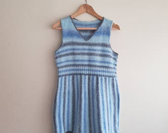 Vintage striped blue cable knitted v-neck sleeveless dress UK XS/S