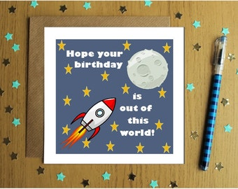 Childrens Birthday Card- Hope You're Birthday Is Out Of This World- Rockets- Stars- Happy Birthday