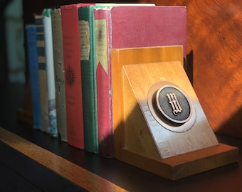 "Mid-century Monogrammed Bookends - ""W"""