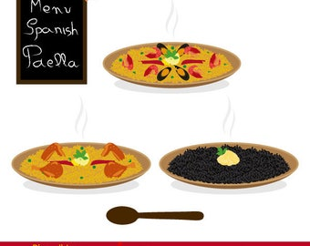 Rice dish with chicken, paella dish, black rice with aioli, Spanish paella, typical Spanish food.