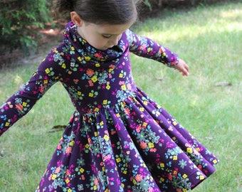 Circle Skirt Dress, Girls Fall Dress, Girls Twirl Dress, Girls Cowl Neck Dress, Cowl Neck Twirl Dress