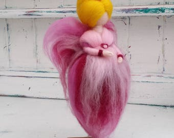 Needle Felted Fairy, Waldorf Inspired, Wool Fairies, Pink Angel Ornament, Felted Fairytail Doll, Faerie, Fairie, Fairy