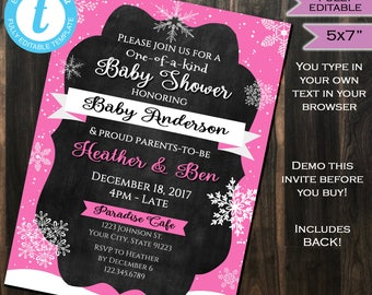 Winter Baby Shower Invitation Baby Sprinkle Snowflake One of a Kind Pink Baby Girl Invite Custom Template Printable INSTANT Self EDIT 5x7