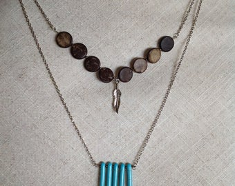 Double chain with turquoise fringe