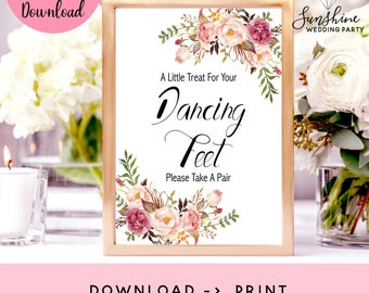 Dancing Feet Sign, Dancing Shoes Wedding Sign, A Little Treat For Your Dancing Feet, Instand Download PDF, Dance Floor Signage, Marsala