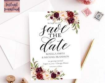 Floral Save The Date Card Template, 5x7 Printable Floral Wedding save the date card, Editable PDF Digital Download, Instant Download