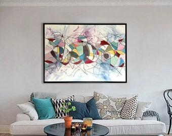 Peinture acrylique moderne etsy for Peinture moderne geometrique