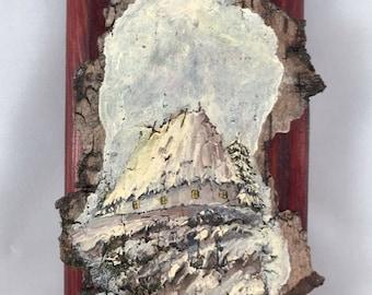 Countryside in winter: Small oil painting on birch bark, unframed, from Kiev, Ukraine