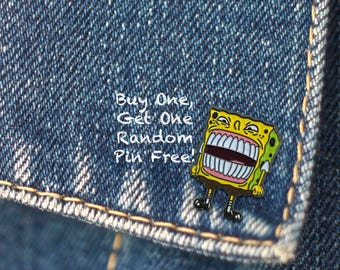 BUY 1, GET 1 Random Pin Free! SpongeBob Meme Enamel Pin Overtime SpongeBob Lapel Pin Badge Internet Meme Pin Soft Enamel Pin Funny Pin Meme