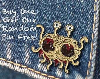 BUY 1, GET 1 Random Pin Free! Flying Spaghetti Monster Enamel Pin FSM Lapel Pin Pastafarian Pin Alt God Pin Badge Soft Enamel Pin Funny Pin