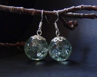 Clear ice,crackle earrings,craquelure jewelry,glass in resin,cracked glass earrings,light refraction earrings,disco ball earrings,refraction