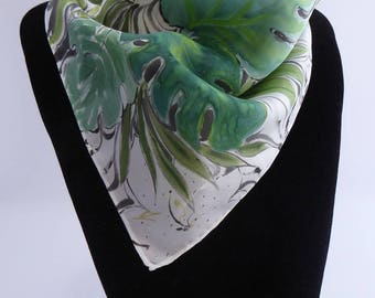 "Newsboy silk scarf handpainted ""Costa Rica"""