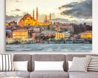 Istanbul Dusk Canvas, Large Art painting, Poster, Wall art, interior decor, Livingroom design, print, Turkey landscape, Sultan Ahmed Mosque
