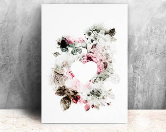 Heart and flowers illustration / print 21 X 29, 7 / Emilie Raguin