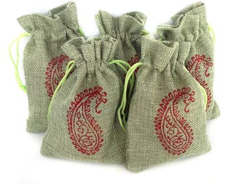 Gift pouch Drawstring Bag Paisley gifts Drawstring pouch Hessian Favor gift bags Hessian pouch Jute bag Burlap favour bags Jute gift bags