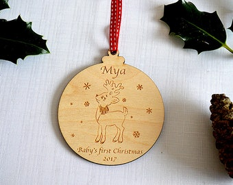 Personalised Baby's 1st Christmas Bauble - Christmas Tree Decoration