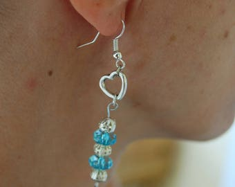 Earrings light blue and silver, heart, very light, nickel free