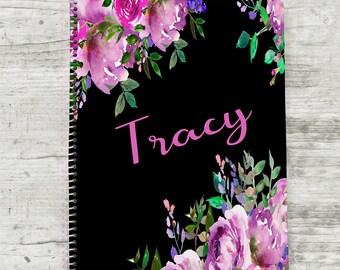 Personalized Notebook, Custom Diary, Custom Journal, Flower Notebook, Spiral Notebook, Personalized Journal, Floral Notebook, Kids Diary