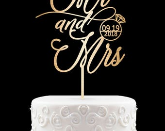 Personalized Cake Topper for Wedding, Custom Personalized Wedding Cake Topper, Customized Wedding Cake Topper, Mr and Mrs Cake Topper 53