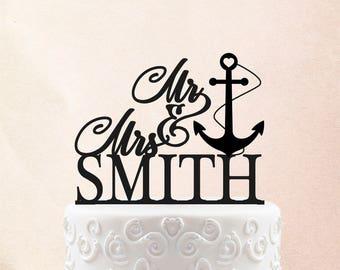 Customized Wedding Cake Topper, Personalized Cake Topper for Wedding, Custom Personalized Wedding Cake Topper, Navy Cake Topper 21