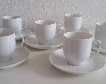 6x Melitta Wien in white cups + saucers Kaffegedeck 6 pieces Vintage