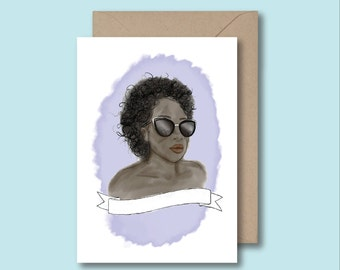 Blank Banner - You Personalise Your Own Card - Add Your Own Personal Touch - Who Is She To You? Black Greeting Card - Celebration - Kitsch