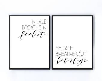 Inhale Exhale, Yoga Print, Yoga Art, Breathe Print, 11x14 Home Decor Poster Sign, New Home Gift, Housewarming Gift, Dorm Decor