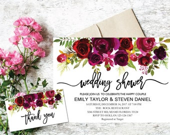 Wedding Shower Invitation, Fall Floral Bridal Shower Card, Couples Shower Invite, Editable Card Printable Instant Download Wedding Shower R3