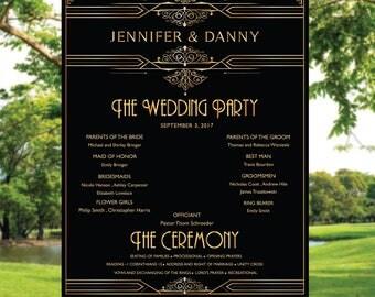 Gatsby Wedding Program Sign, Poster wedding program, Printable wedding program sign, wedding program sign, Gatsby weddings program sign