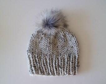 Chunky Handknit Faux Fur Beanie Hat - Oatmeal -  Flexible size
