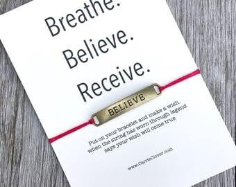 Believe bracelet, Believe jewelry, Karma bracelet, Wish bracelet, BREATHE bracelet, Yoga bracelet, inspirational bracelet, Believe,  A34
