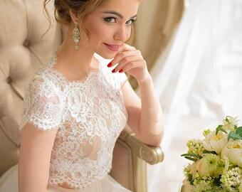 Wedding crop top, lace crop top, crop top wedding dress, crop top, beach wedding dress, lace wedding dress, wedding lace bolero