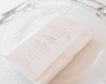 Custom Calligraphy Menu, Printable and Customizable, Elegant Wedding, Hand Written Calligraphy and Hand Drawn with Crest/Monogram