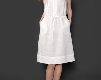 Pure WHITE LINEN Dress - made in Europe - with lace decor - リネンドレス
